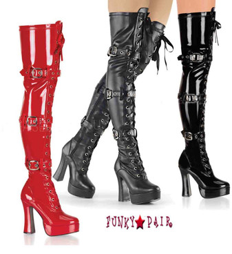 ELECTRA-3028, 5 Inch thigh high boots fetish sz 6-14