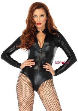 86695, Wet Look Zipper Front Bodysuit