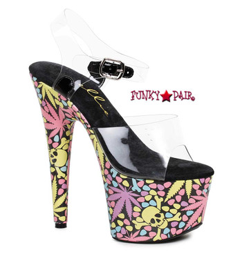 709-Haze, 7 Inch High Heel with Leaf and Skull | FunkyPair.com