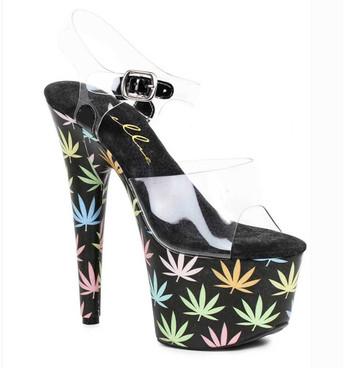 "Ellie Shoes   709-Chronic 7"" Stripper Heel Chronic Leaf"
