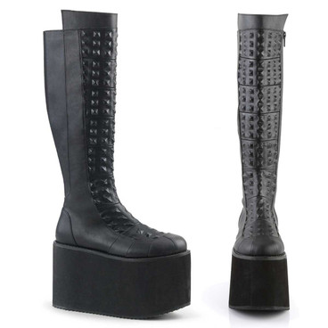 Women's Gothic Platform Knee High Boots with Pyramid Stud   Demonia ROT-13