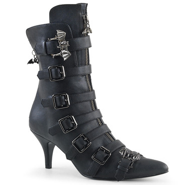 Fury-110, Gothic Winklepicker Bat Buckle Ankle Boots by Demonia