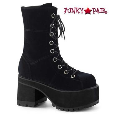 Demonia | Ranger-301S, Goth Chunky Heel Velvet Ankle Boots