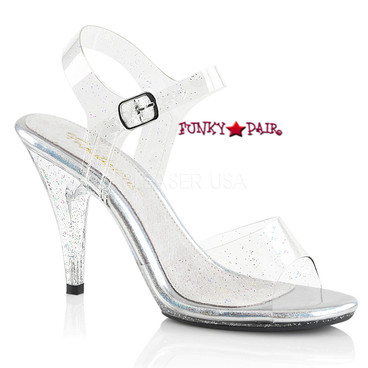 Caress-408MMG, 4 Inch Ankle Strap Platform Sandal with Glitters