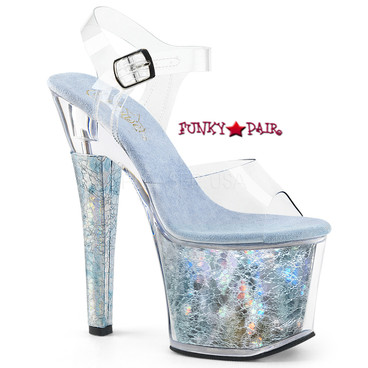 Clearance Pleaser | Radiant-708THG, Ankle Strap Sandal with Holographic Platform