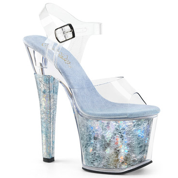 Radiant-708THG, 7 Inch High Heel Ankle Strap Sandal with Holographic Platform