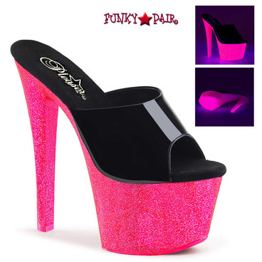 Pleaser | Sky-301UVG, UV Reactive Platform Slide