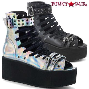 Demonia Shoes   Grip-105 Gothic Vegan Leather Sandal