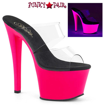 Pleaser | Sky-302UV 7 Inch UV Reactive Exotic Dancer Shoes