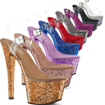 Sky-308LG, 7 Inch Ankle Strap Sandal with Glitters on Platform color available: Bronze, Pewter, Rose Gold, Blue, Red, Lavender, Purple, Silver, Black