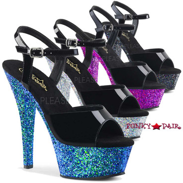 Pleaser Shoes | Kiss-209LG, Ankle Strap Sandal with Glitter Platform