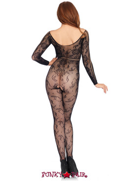 LA89209, Seamless Lace Long Sleeve Bodystocking
