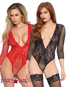 Leg Avenue | LA-89220, Deep V-Lace Thong Teddy | FunkyPair.com