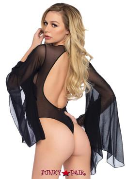 LA89206, Mesh Bell Sleeve Thong Bodysuit