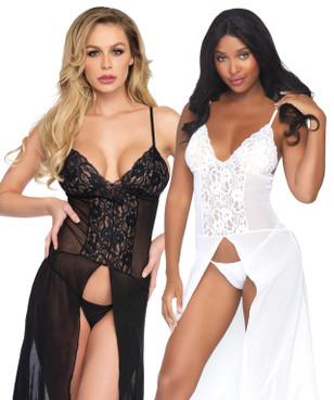Leg Avenue | LA-88018, Mesh and Lace Slit Long Gown