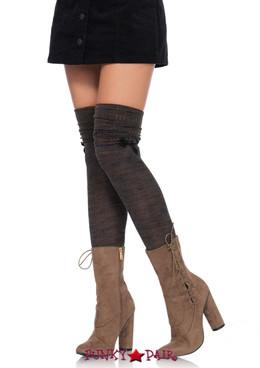 LA6345, Marled Knit Over the Knee Scrunch Socks