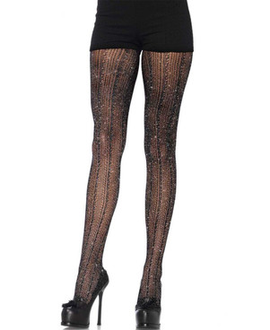 LA7953, Crocheted Stripe Lurex Shimmer Tights