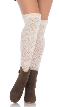 LA6924, Crocheted Over the Knee Socks