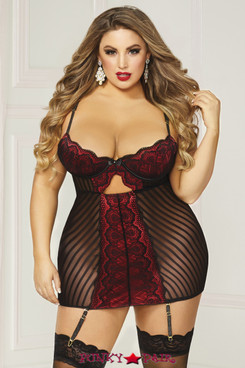 STM-10832X, Mesh with Lace Overlay Chemise