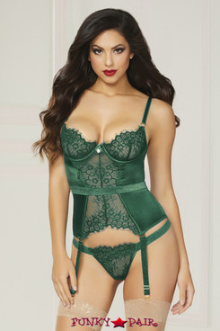 STM-10813, Lace and Satin Bustier Set