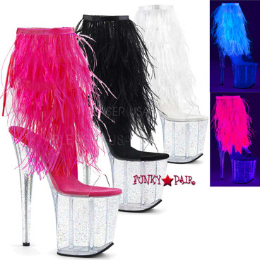 Flamingo-1017MFF, 8 Inch Heel Open Toe/Back Ankle Boots with Marabou Fur Fringe
