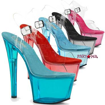 Pleaser | Sky-308T, Tinted Platform Sandal Color Available: Aqua, Red, Pink, Light Blue, Smoke=Black