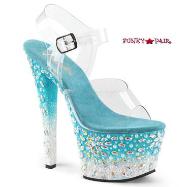 Pleaser Shoes Sky-308FISH, Platform Sandal with Fish Design on Platform