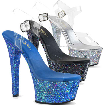 Aspire-608LG, 6 Inch Ankle Strap Sandal with Glitters by Pleaser