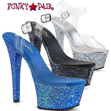 Pleaser   Aspire-608LG, 6 Inch Ankle Strap Sandal with Glitters