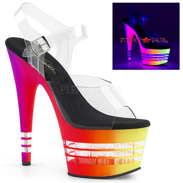 Adore-708UVLN, 7 Inch High Heel with Line Bottom color clear/multi neon