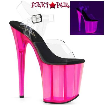 Pleaser | Flamingo-808UVT, 8 Inch UV Backlight Tinted Platform Sandal