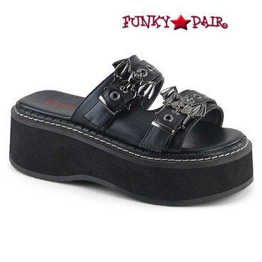 Demonia Shoes | Emily-100, Goth Strap Slide