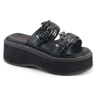 Emily-100, Goth Strap Slide Demonia Shoes