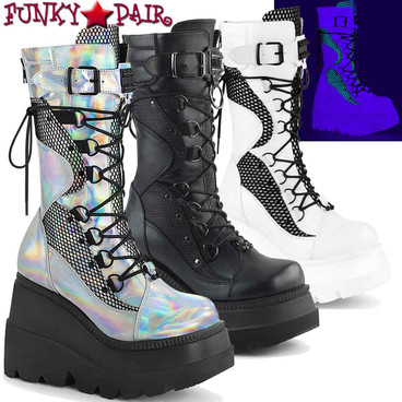 Demonia Shaker-70 Goth Wedge Mid-Calf Boot