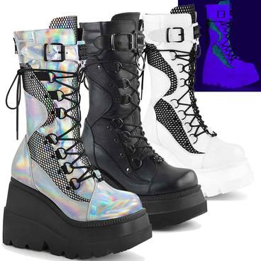 Shaker-70 Women's Goth Wedge Mid-Calf Boot by Demonia