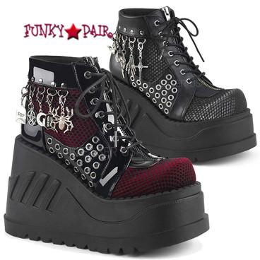 Demonia   Stomp-18 4.75 Inch Platform Lace-up Front Wedge Booties Colo Available: Black Pat-Burgundy Velvet, Black Vegan Leather-Grey Velvet Size 6 - 11
