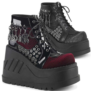 Women Demonia Stomp-18 Women Charms Platform Booties
