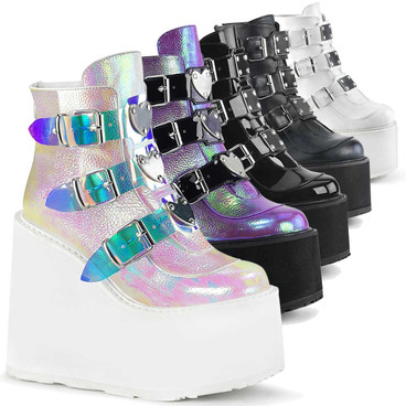 Swing-105, Rave Triple Buckle Wedge Platform Ankle Boots by Demonia