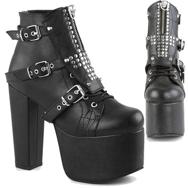 Torment-713, Chunky Heel Gothic Platform Ankle Boots by Demonia