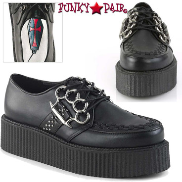 Demonia | Men's V-Creeper-516, Platform Oxford with Brass Knuckles