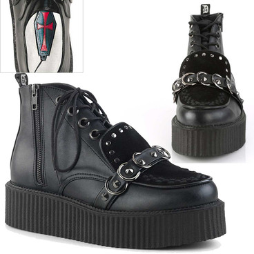 Men's High-Top V-Creeper-555 With Stud and O-Rings Detail by Demonia Shoes