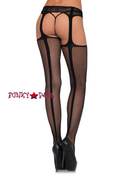 LA1776, Faux Lace Up Stockings with Attached Garter Belt