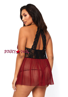 LA81526X, Sheer Halter Babydoll Set