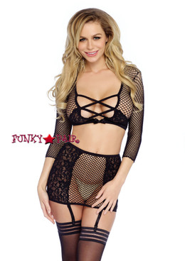 LA86300, Industrial Net Top and Skirt Set