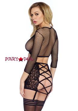 LA86300, Industrial Net Top and Skirt Set