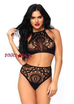 LA81552, Crochet Lace Crop Top and High Waist Thong color black