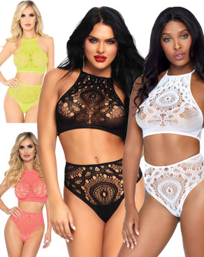 LA-81552, Crop Top and High Waist Thong by Leg Avenue