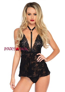 LA81549, Lace Harness Halter Babydoll color black