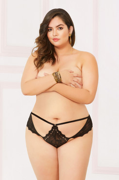 STM-10905X, Lace Open Crotch Thong