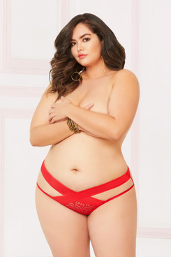 STM-10901X, Open Crotch Panty with Criss Cross Detail
